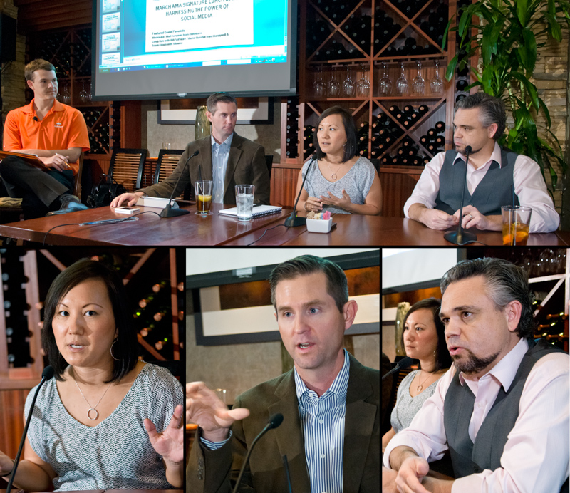 Have a strategy before you start 'cuse you can't stop. That was the message from the 4-member panel on business use of social media. They presented at Wednesday's Signature Lunch of the Phoenix American Marketing Association. In the top photo, Matt Simpson, from Bulbstorm, (left) wrangled Shane Barnhill, Honeywell, Cindy Kim, JDA Software, and Travis Unwin, Sitewire. Other photos by Laird Brown PHotography featured in the banner of the AMA Phoenix web site http://www.amaphoenix.org/