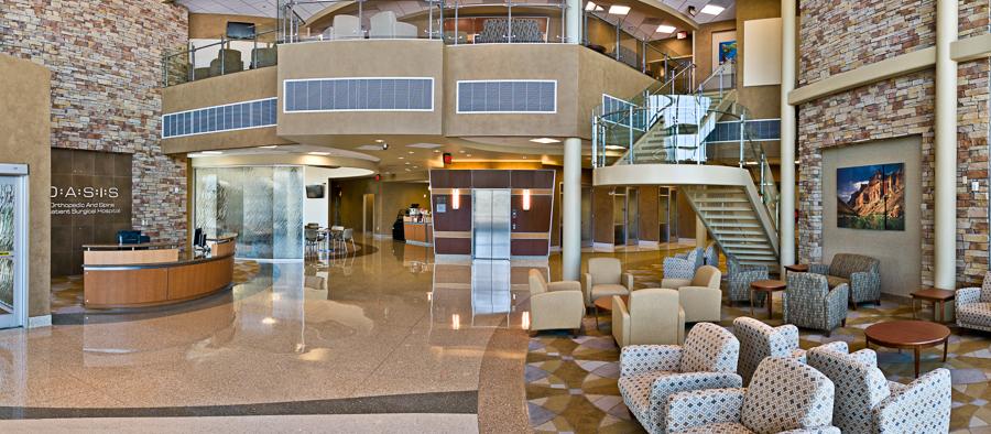 Panorama view of hospital lobby